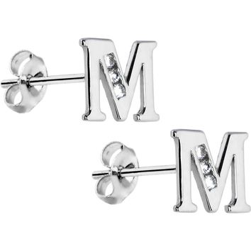 14kt White Gold CZ Initial M Stud Earrings