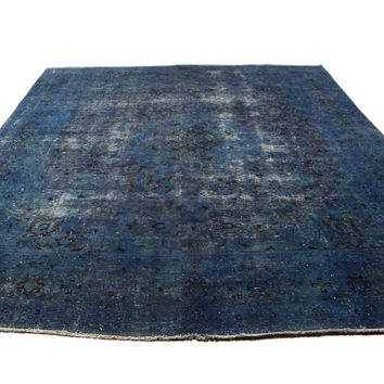 9x12 Vintage Persian Rug Distressed Denim Blue 2922