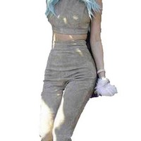 Cali Girl Grey Sleeveless Scoop Neck Crop Top Wide Flare Leg Pants Two Piece Jumpsuit - Inspired by Kylie Jenner