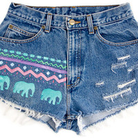 Tribal/Aztec Shorts Colorful Hand Painted Vintage by floralfireworks