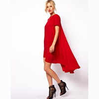 New Arrivals Fashion Hi-Lo Casual Dress Girls Plus Size Dresses Loose Summer Dress for Women