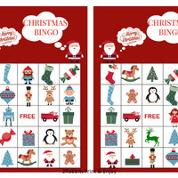 20 Printable Christmas Bingo Cards Prefilled Christmas Clip Arts - Christmas Games - Christmas Bingo for kids and Preschool Instant Download