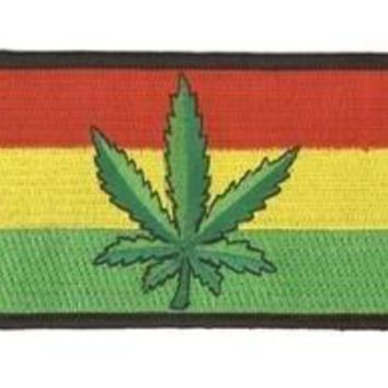 "Brand New - Pot Marijuana Leaf Rasta Flag Top Quality Patch - 4"" x 2.5"" - Embroidered Patch, High-quality"