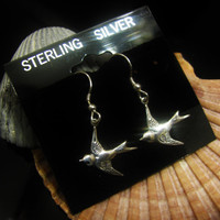 MOTHERS DAY GIFT Sale- Selling All Sterling Silver Earrings Bird Swallow Wire Hanging Earrings Mom Grandma Nana