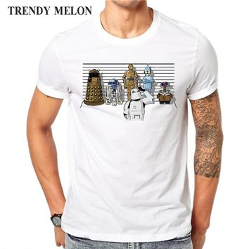 Novelty Printed T shirt Men Cool Star Wars Droids Funny White Short Sleeve Cotton Tops Fashion Tees Hipster Clothing JAD04