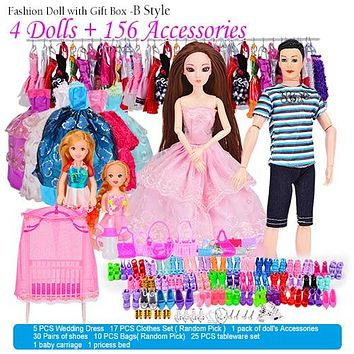 Doll Fashionista Ultimate Dress-up Dolls Set Gift Box Toy Princess Dolls Accessories for barbie