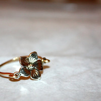 caelum - mixed media flower 14 karat gold ring by lilla stjarna - ft. sterling silver charm, 14k gold - gifts under 25