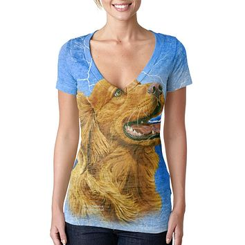 Golden Retriever Live Forever Juniors Burnout V-Neck T-Shirt
