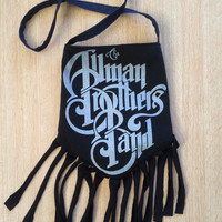 ALLMAN BROTHERS - Upcycled Rock T-Shirt Fringe Purse - ooaK