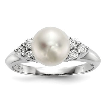 Sterling Silver RH 8-9mm White Button FWC Pearl CZ Ring