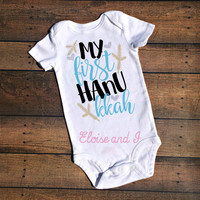 baby's first hanukkah outfit, first chanukah, jewish baby clothes, happy challah days, hanukkah shirt, hannukkah baby outfit, holiday baby