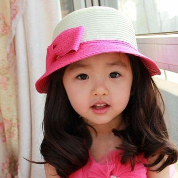 PEAP78W Casual Kids Girls Sun Hat Toddler Summer Beach Bucket Hat BabyGirls Kids Bowknot Straw Sun Caps 5 Sizes