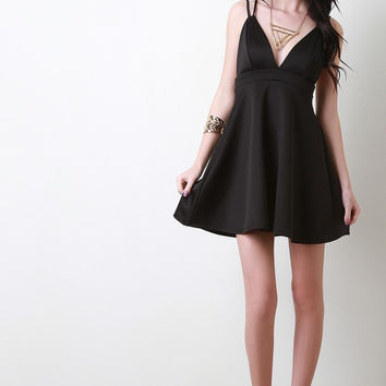 Cross-Back Plunging Skater Dress