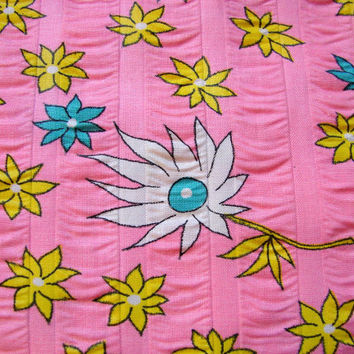 Vintage 1960s Floral Fabric Mod Daisies Flower Power Floral Seersucker Fabric Pink Yellow Blue White
