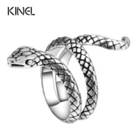 JEWELRY RING  Fashion Snake Rings For Women Color Silver Heavy Metals Punk Rock Ring Vintage Animal Jewelry