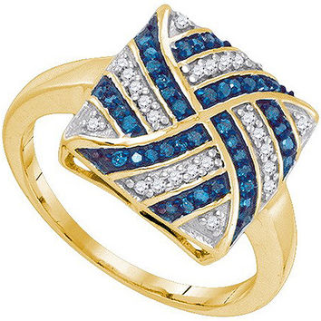 Blue Diamond Micro-pave Ring in 10k Gold 0.25 ctw