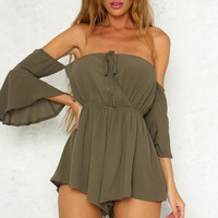 Champagne Coast Playsuit Khaki