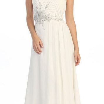 One Shoulder Ruched Chiffon Off White Long Prom Dress