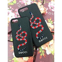 GUCCI Fashion Snake Embroidery iPhone Phone Cover Case For iphone 6 6s 6plus 6s-plus 7 7plus 8 8plus