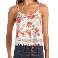 LACE-TRIMMED FLORAL PRINT SWING CROP TOP