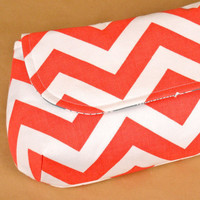 XL Classic Clutch- Coral Chevron with Modern Teal - Ready to Ship