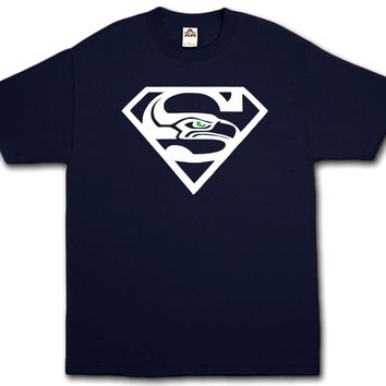 Super Seahawks Fan - Blue T-Shirt Seattle 12th Man Champs Beast All Sizes S-3XL