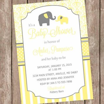 Yellow and Gray Elephant baby shower invitation, yellow, grey, elephant, damask baby shower invitation, neutral invite, printable invitation