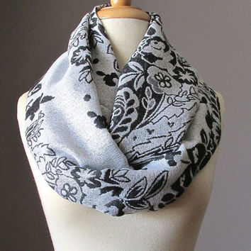 White and Black  infinity scarf, White scarf, pashmina, floral scarf, Metallic scarf