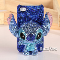 Blingbing Stitch phone cover blue crystal phone case for iPhone4/4S or iPhone 5