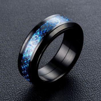 Dragon pattern rotate ring Stainless Steel biker Hip Hop Punk Rock Male Personality halloween party supplies Vogue Jewelry
