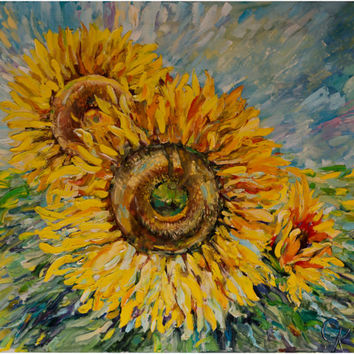 "painting ""Sunflowers"" in 2009, the original painting, brush, oil on canvas on a wooden stretcher 27.5 - 31.5 """