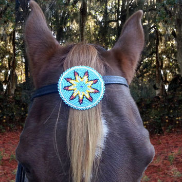 Morning Star Beaded Equine Browband / Forelock Ornament -  Native American Style Horse Costume
