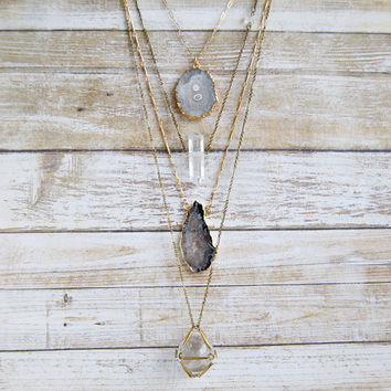 Gold Solar Quartz Necklace » Quartz Jewelry » Quartz Pendant » Layering Layered Necklaces » Quartz Crystal » Boho Jewelry