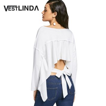 Womens White T-Shirt Fashion Casual Long Sleeve Round Neck Bow Tied Asymmetrical Cut Out Tops