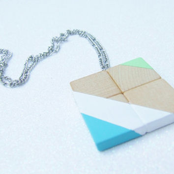 Hand Painted Geometric Wood Necklace - White Mint Green Turquoise - Color Blocking Color Block Color Blocked - Minimalist Geometric