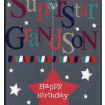 Superstar Grandson Birthday Card