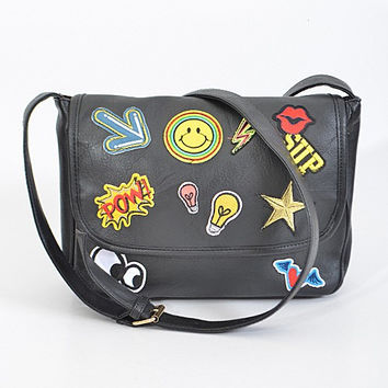 Hippie Style Black Patch Clutch