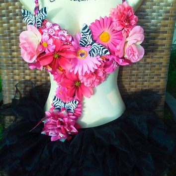 Zebra Butterfly and Pink Flower Monokini
