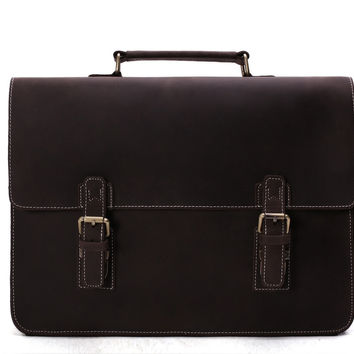 Manhattan Vintage Leather Briefcase in Dark Brown