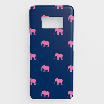 Elephant Cell Phone Case Galaxy S8 - Pink on Navy