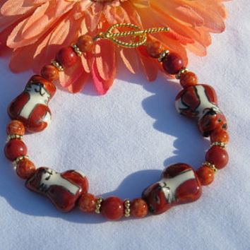 Fox Bracelet , Glass Beaded Bracelet, Woman's Jewelry