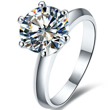 2CT Classic Cushion Shape SONA Synthetic Diamond Wedding Ring