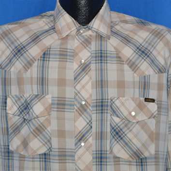 80s Sears Brown Tan Blue Plaid Pearl Snap Shirt Medium