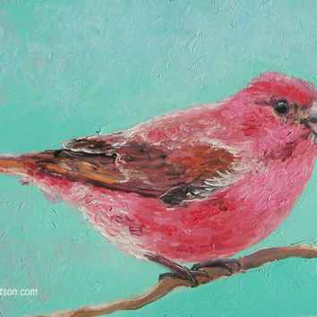 Purple FINCH, Bird Painting, miniature art, Bird Art, original oil painting,5 x 7,living room art,designer decor,country home decor,Etsy art