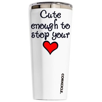 Corkcicle 24 oz Nurse Cute Enough To Stop Your Heart on White Gloss Tumbler