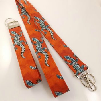 Lizard Lanyard Teacher Lanyard Fabric Lanyard Desert Lanyard Gecko Lanyard Reptile Lanyard Nurse Lanyard Lizard Necklace Key Holder