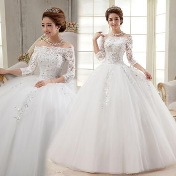 Cheap Stock Ivory Wedding Dresses Brides Dresses Floor Length Corset Bridal Gown Made in China Under 80 Size 4 6 8 10 12 14