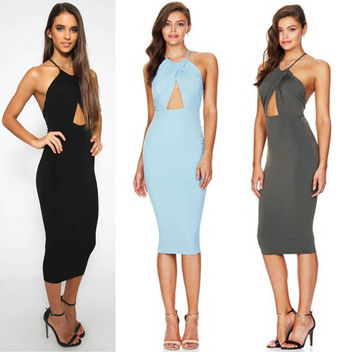 Women's Halter Dress Off The Shoulder Strapless Knee-Length Dress 3 Colors Available