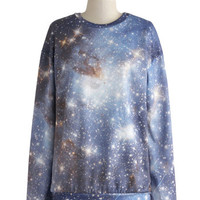 ModCloth Mid-length Long Sleeve Sweatshirt Stellar Exploration Sweatshirt
