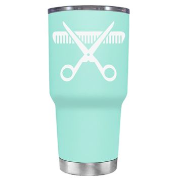 HairStylist Scissor and Comb Silhouette on Seafoam 30 oz Tumbler Cup